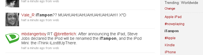 Apple iTampon Trending on Twitter